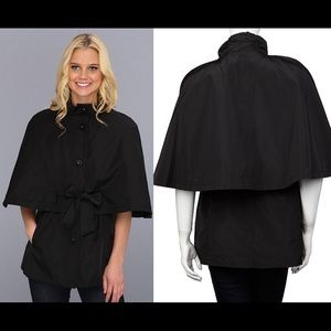 Betsy Johnson Black Belted Tie Cape Jacket NWT L